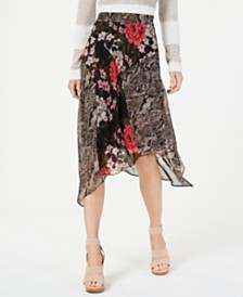 I.N.C. Petite Mixed-Print Floral Midi Skirt, Created for Macy's