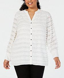 Alfani Plus Size Fringe-Stripe Blouse, Created for Macy's