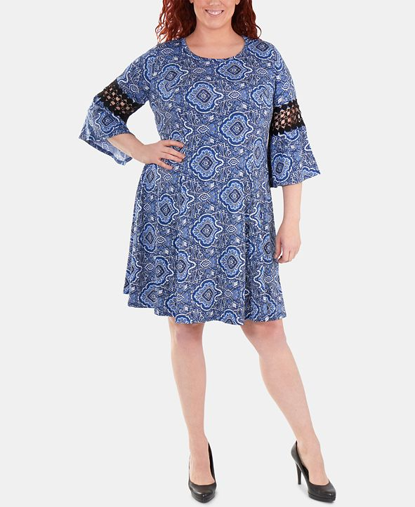 NY Collection Plus Size Crochet-Trimmed Bell-Sleeve Dress