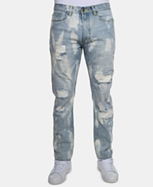 Sean John Men's Slim-Fit Bleached Jeans