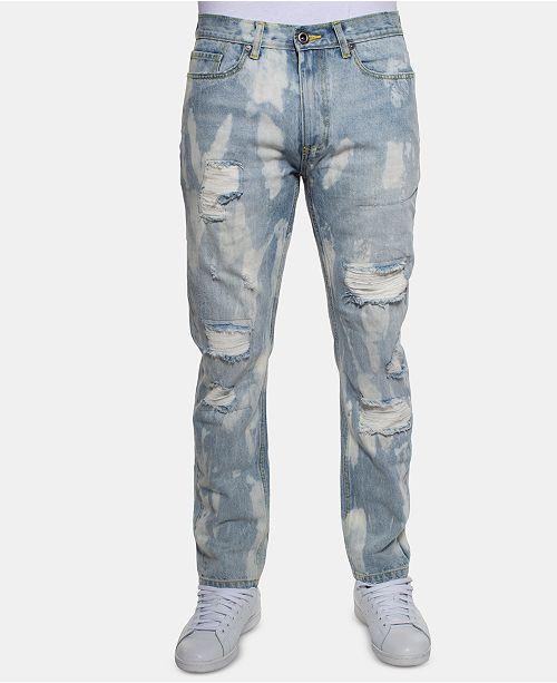 Sean John Men's Slim-Fit Bleached Jeans