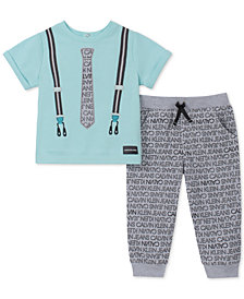 Calvin Klein Baby Boys 2-Pc. Suspenders-Print T-Shirt & Printed Pants Set