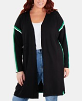 b0089233c4 NY Collection Plus Size Racing-Striped Open-Front Cardigan Sweater