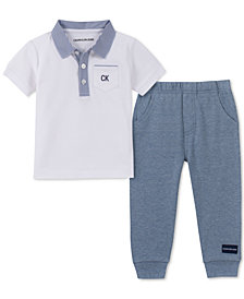 Calvin Klein Baby Boys 2-Pc. Polo Shirt & Jogger Pants Set