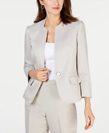 Kasper Textured Single-Button Bi-Stretch Jacket