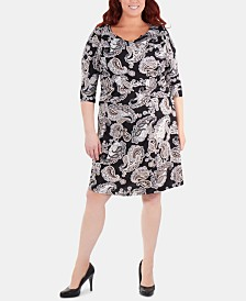 NY Collection Plus Size Paisley Ruched Crisscross Dress