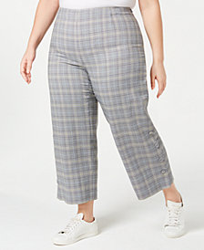 Bar III Plus Size Plaid Wide-Leg Pants, Created for Macy's