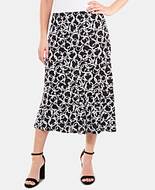 NY Collection Diagonal-Seamed Flounce-Hem Skirt