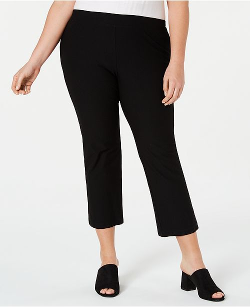 Eileen Fisher Plus Size Flared Washable Crepe Ankle Pants