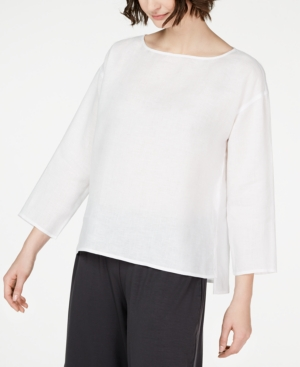Eileen Fisher Tops ORGANIC LINEN BOAT-NECK TOP