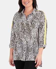NY Collection Plus Size Racing-Striped High-Low Blouse