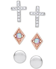 3-Pc. Set Imitation Opal & Cubic Zirconia Stud Earrings in Sterling Silver & 18k Rose Gold-Plated Sterling Silver