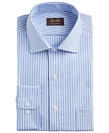 Men's Classic/Regular-Fit Non-Iron Supima Cotton Twill Bar Stripe Dress Shirt, Created for Macy's