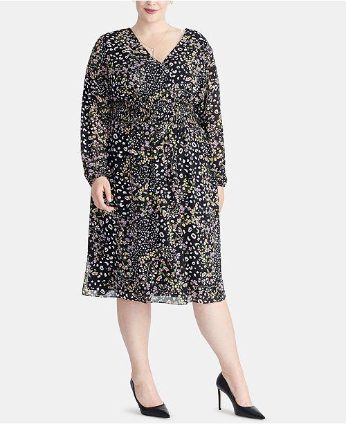RACHEL Rachel Roy Trendy Plus Size Smocked Midi Dress ...