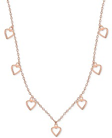 """Open Heart Dangle 18"""" Statement Necklace in 18k Rose Gold-Plated Sterling Silver"""
