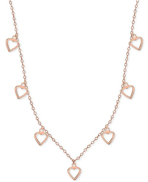 """Giani Bernini Open Heart Dangle 18"""" Statement Necklace in 18k Rose Gold-Plated Sterling Silver"""