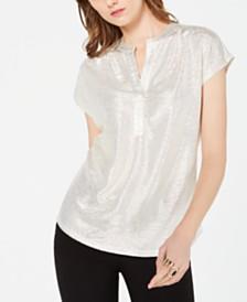 I.N.C. Petite Textured Metallic Top, Created for Macy's
