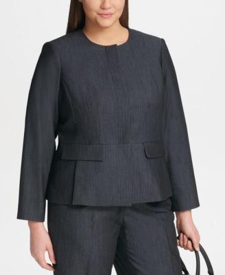 Plus Size Zip-Front Denim Jacket
