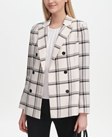 Calvin Klein Plaid Double-Breasted Jacket