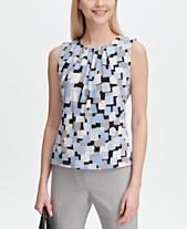 a9d640f629696 Calvin Klein Printed Pleat-Neck Top