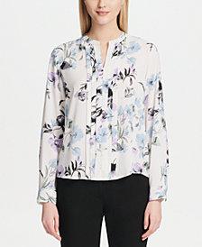 Calvin Klein Petite Floral-Print Pleated Top