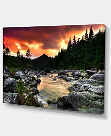 """Designart Rocky Mountain River At Sunset Extra Large Wall Art Landscape - 32"""" X 16"""""""