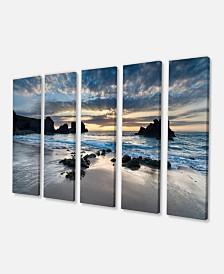 "Designart Beautiful Porthcothan Bay Canvas Art Print - 60"" X 28"" - 5 Panels"