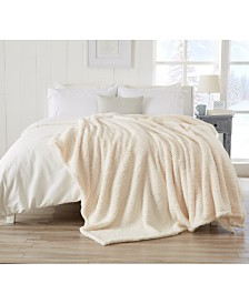 Ultra Soft Sherpa Stretch Knitted Solid  Blanket  - Full-Queen