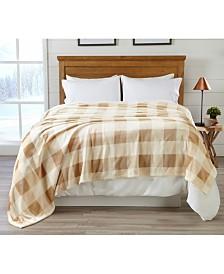 Premium Velvet  Luxury  Blanket with Buffalo Check Design - Twin