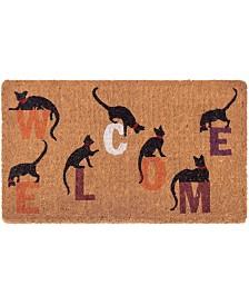 "Fab Habitat Doormat Inquisitive Cat 18"" x 30"", Extra Thick Handwoven, Durable"