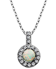 "925 Sterling Silver with Lab Created Opal and Cubic Zirconia Round Pendant with 18"" Chain"