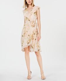 Calvin Klein Floral-Print Chiffon Wrap Dress