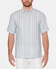 Cubavera Men's Big & Tall Yarn-Dyed Panel Linen Shirt