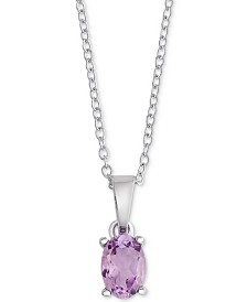 "Amethyst Oval 18"" Pendant Necklace (3/4 ct. t.w.) in Sterling Silver"