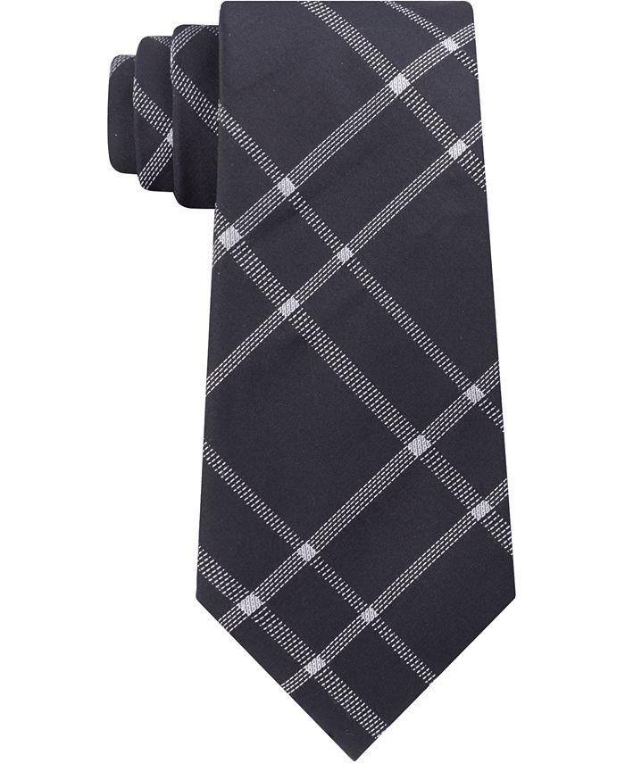 Calvin Klein - Men's Stitch Plaid Slim Silk Tie