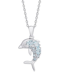 "Blue Topaz Dolphin 18"" Pendant Necklace (5/8 ct. t.w.) in Sterling Silver"