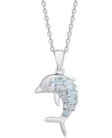 """Blue Topaz Dolphin 18"""" Pendant Necklace (5/8 ct. t.w.) in Sterling Silver"""