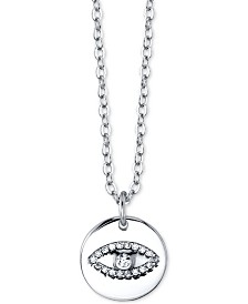 "Unwritten Cubic Zirconia Evil Eye Pendant Necklace in Sterling Silver, 16"" + 2"" extender"