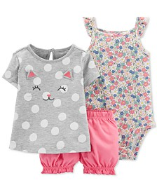 Carter's Baby Girls 3-Pc. Kitty Cat Cotton, Floral-Print Bodysuit & Bloomer Shorts Set