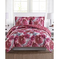Pem America Tinsley Reversible 2 Piece Twin Mini Comforter Set (Berry Red)