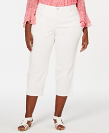 Charter Club Petite Plus Size Tummy-Control Capri Jeans, Created for Macy's