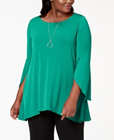 Alfani Plus Size Tulip-Sleeve Swing Top, Created for Macy's