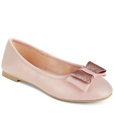 Rampage Little Girls Bow-Detail Ballet Flats