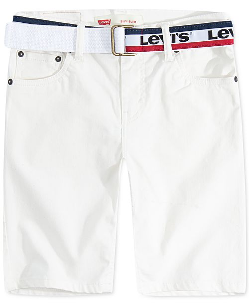 Levi's Big Boys 511 Belted Slim-Fit Sueded Shorts