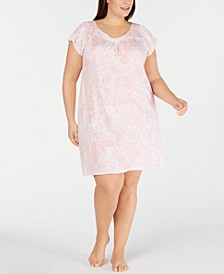 Plus-Size Paisley-Print Jersey Knit Nightgown