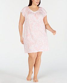 Miss Elaine Plus-Size Paisley-Print Jersey Knit Nightgown