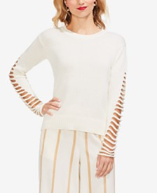 Vince Camuto Lattice-Sleeve Cotton Sweater