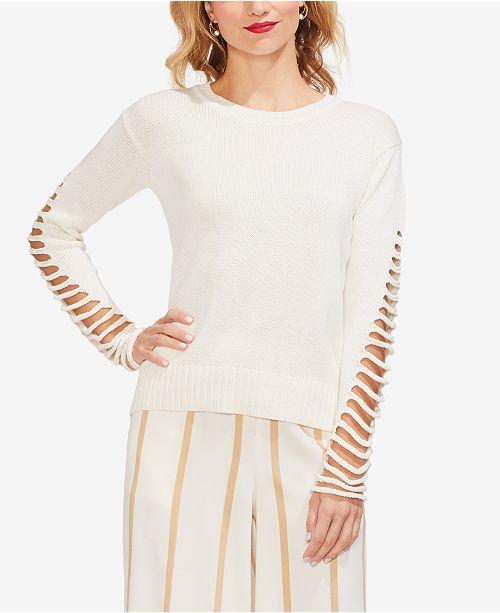 Vince Camuto Lattice-Sleeve Cotton Sweater
