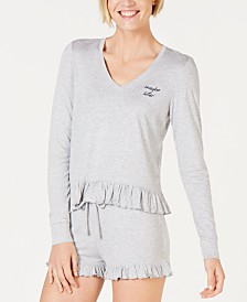 Jenni Ultra Soft Knit Ruffled Pajama Top, Created for Macy's