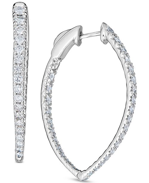 Macy's Diamond (2 ct. t.w.) Pavé Hoop Earrings in 14k White Gold